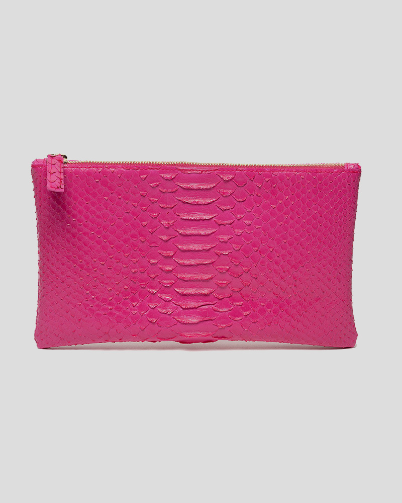 Small Clutch Faux Python - Hot Pink