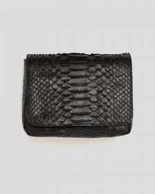 Faux Python - 3-in-1 Bag: Fold Over Belt Bag + Crossbody Bag + Clutch - Black