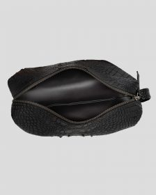 Faux Python Toiletry Case - Black