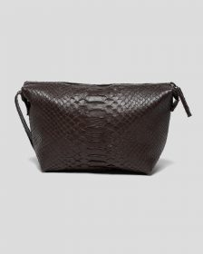 Faux Python Toiletry Case - Chocolate Brown