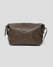 Faux Python Toiletry Case - Olive