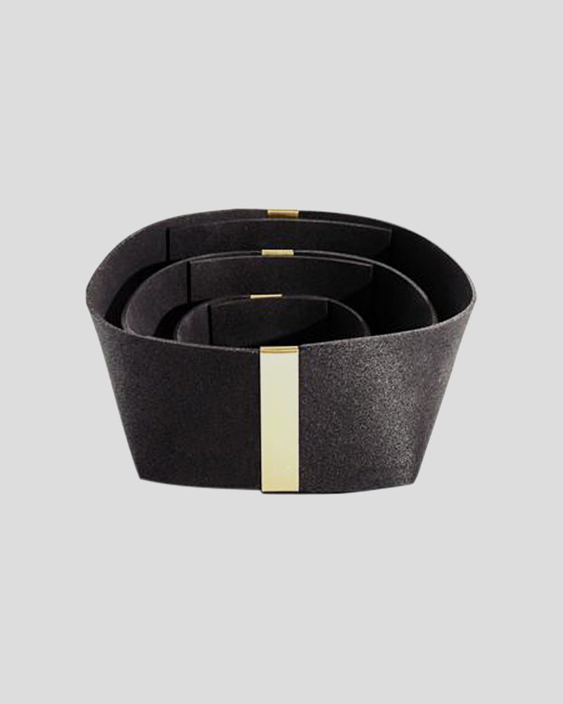 Rubber & Brass Basket (set 3) - Black