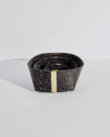 Rubber & Brass Basket (set 3) - Speckled Black