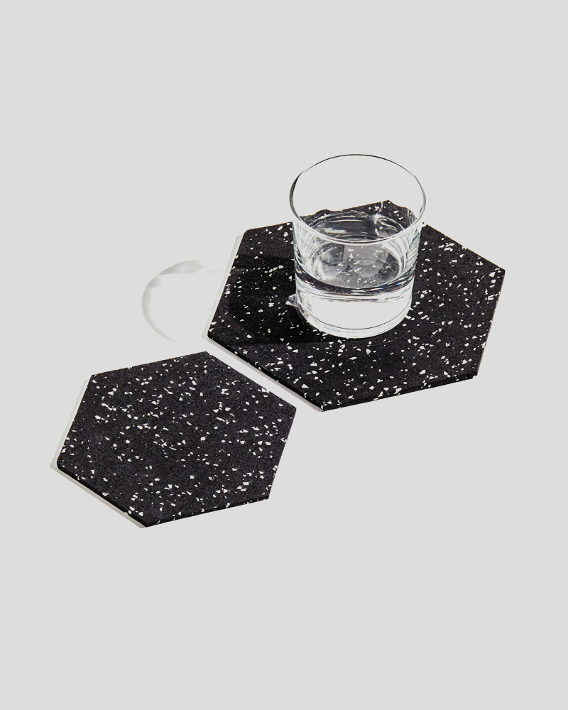 "Hex Trivet Duo - 8"" & 6"" - Speckled Black"