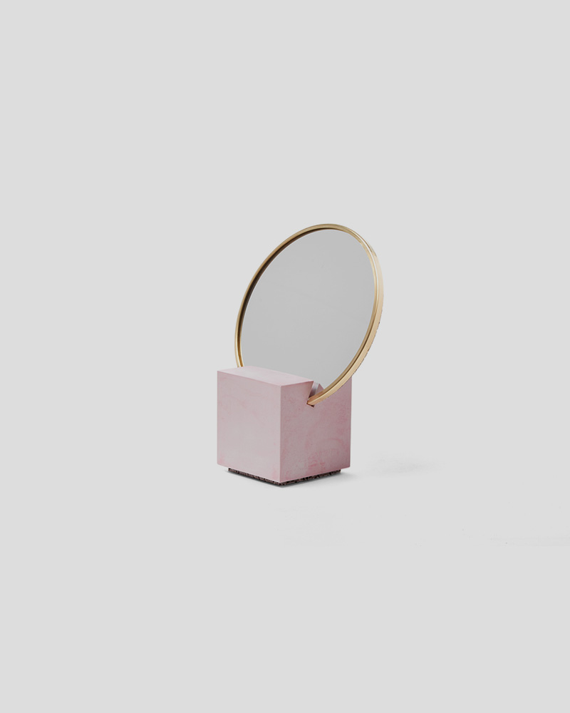 Slash Vanity Mirror - Pink Base, Royal Rubber