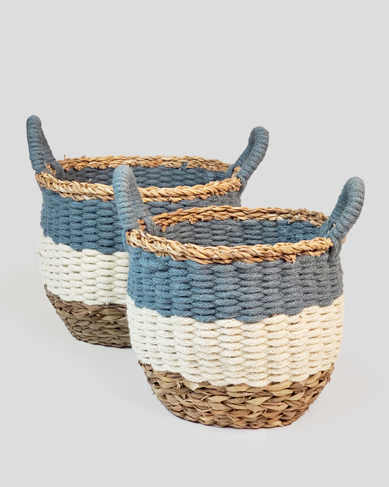 Ula Stripe Basket - Blue (Set of 2)