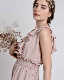 The Farah Jumpsuit in Pale Dusty Rose