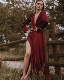Burgundy Bareback Maxi Dress