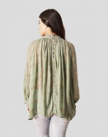 Blooming Floral Blouse in Sage + Gold