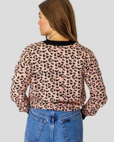 Leopard Bomber in Blush + Black