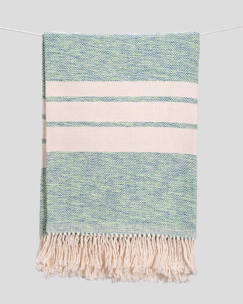 Herringbone Striped Cotton Throws & Blankets in Musgo