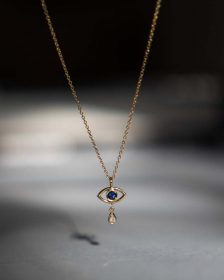 Evil Eye Teardrop Necklace - 14K Yellow Gold