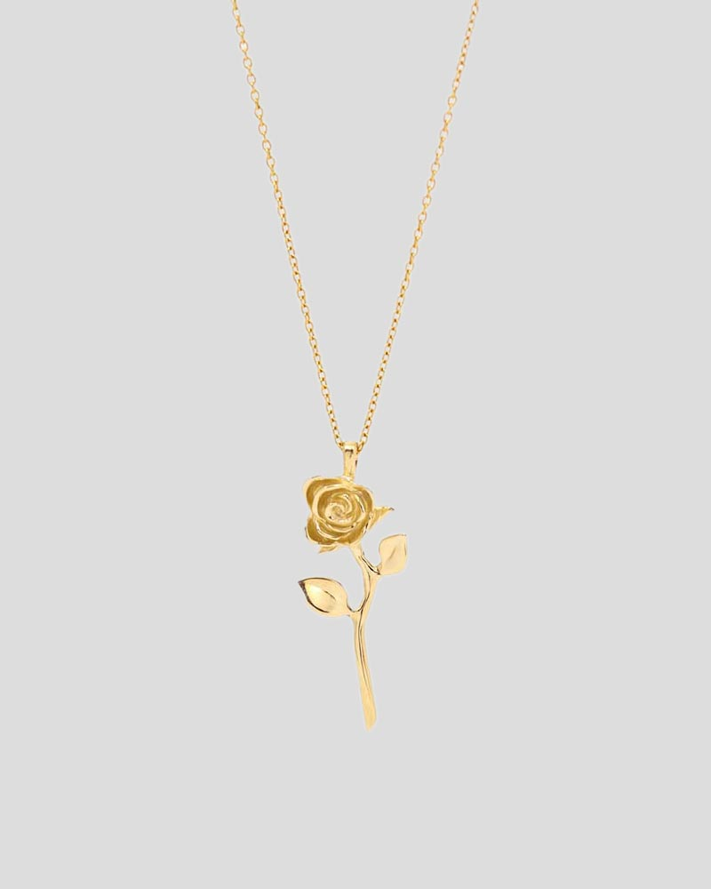Devotion - Rose Necklace in 14k Yellow Gold