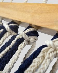 Colonial Navy Blue Cotton Hammock with Tassels (Wooden Bar)