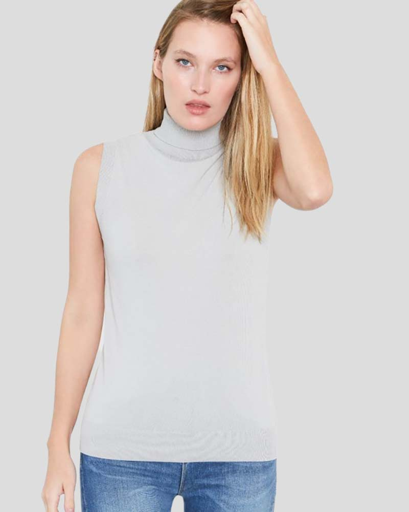 Hepburn Sleeveless Viscose Sweater in Smoke