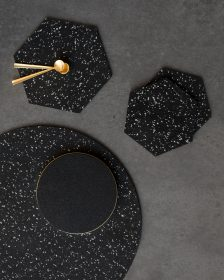 "Rubber Mat 15"" Round - Speckled Black"