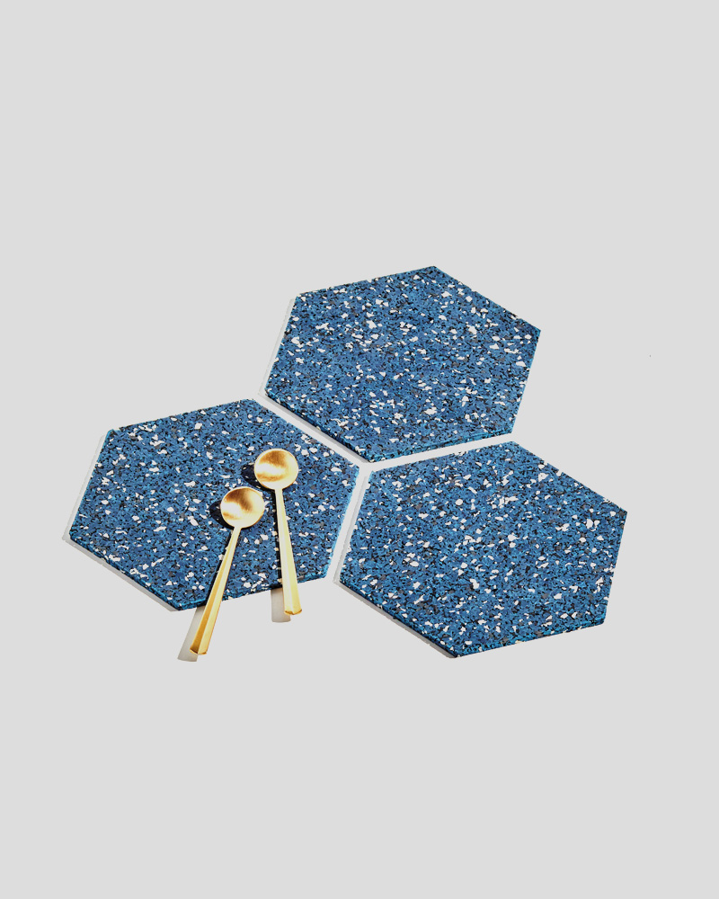 "Hex Trivet Set of 3 - 6"" Hexagons - Royal"