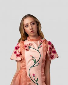 Floral Embroidered Silk Dress