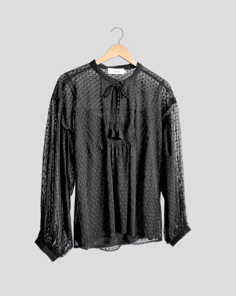 Grace Blouse in Black with Black Tank
