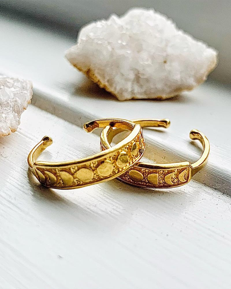 Gold Vermeil Moon Phase Adjustable Ring